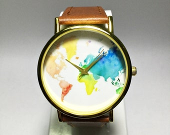 Colored Map Watch, World Map, Mens Watch, Wrist Watch Vintage Leather Watch, Women Watches, Unisex Watch, Boyfriend Watch, Travel Map, Gifts