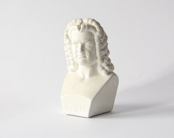 Vintage BACH bust Johann Sebastian Bach head Rot ceramic West Germany 1970s white base home decor