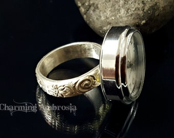 Sterling silver Watch Ring Size 7.5 / Finger watch Ring / Victorian watch Ring / Steampunk watch Ring