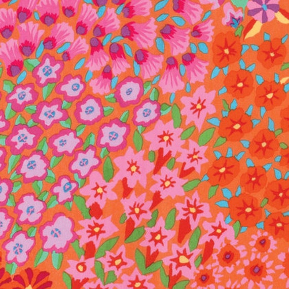 PERSEAN GARDEN ORANGE Kaffe Fassett sold in 1/2 yard increments