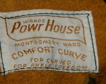 1960's Men's Vintage Work Boots, Powerhouse by Montgomery Ward, Size 10 D, Dark Brown, Deadstock, Made in USA,