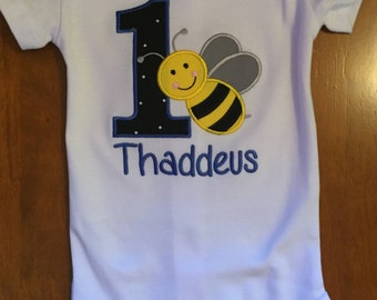 Boy Bumble Bee Birthday Baby Bodysuit or Shirt