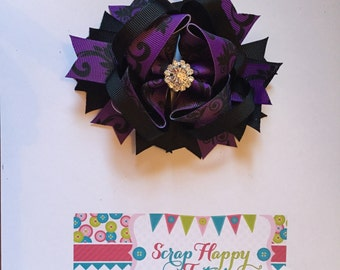 Purple and Black Damask Over the Top Hair Bow