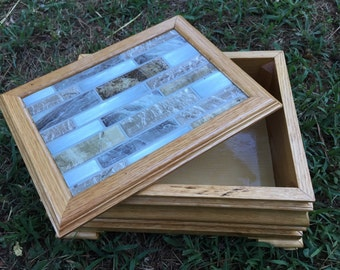 Handmade wooden oak box for storage/jewelry