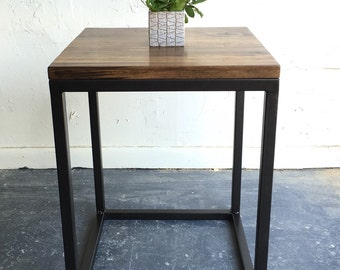 Pair of industrial modern end tables with steel base