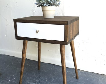 Mid century modern inspired side table with white drawer