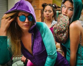 Holographic Hooded Velvet Playsuit | 4 colors | Burning Man Costume, Festival Outfit, Jumpsuit, Hoop , Onesie, Playsuit