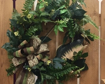 Wreath for Your Cabin. Cabin Decor. Fishing Wreath for your Porch, Deck, Lake Home, Cabin.