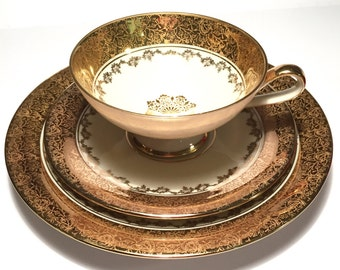 Gorgeous Gold Tea cup and Saucer set, Hertel Jacob Teacup Trio, Made in Bavaria Germany, Vintage Tea cup Trio Saucer Bread Plate Dinnerware