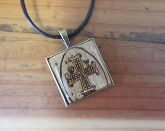 Wine Cork 'Cross' Necklace Pendant