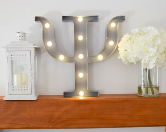 """Greek Letter Lights """"Psi"""" / Letter Marquee Light """"Psi"""" / Sorority Marquee Letters / Light up Letters / Sorority Lights / Marquee Signs"""