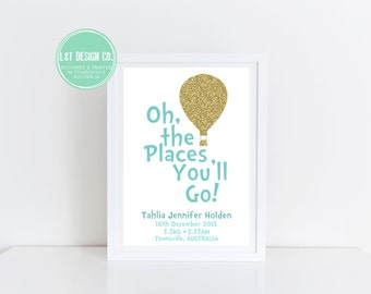 Oh, The Places You'll Go! Personalised Print {BLUE}