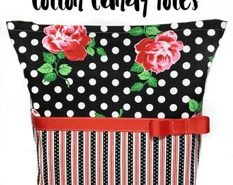 Floral diaper bag, polka dot diaper bag, polkda dot tote bag, roses and polka dots, black white and red tote bag, roses tote bag