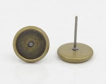 10pcs (5 pairs) Bronze Colour Earring Stud Post, Cabochon Setting Earrings, Findings, Various Sizes, Jewellery Making, UK Seller