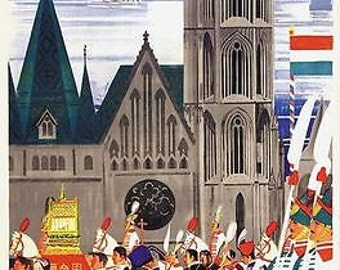 Vintage Budapest Hungary Travel Poster A3 Print