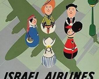 Vintage El Al Israeli Airlines Flights Around The World Poster A3 Print