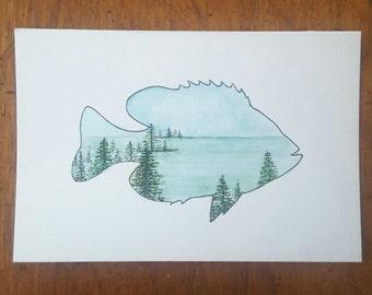Sunfish-Shaped Lake Landscape Postcard - Hand Painted
