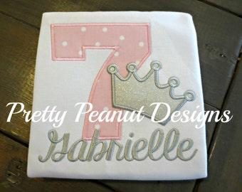 Girl Birthday Princess Shirt and Bow Set - Princess Birthday - Number and Crown
