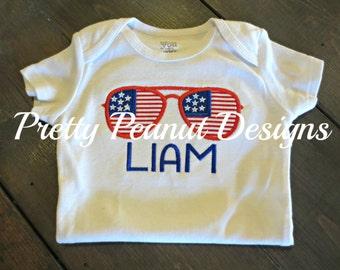 Boy Patriotic Aviator Sunglasses Shirt or Onesie-  Personalized July 4th Shirt - American Flag Sunglasses