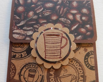 Coffee Themed Giftcard Holder in Brown