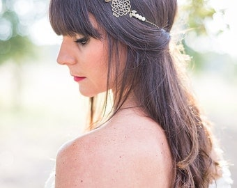 "Marriage Bohemian Headband  ""Mariane"" bronze and white in pearls and chains"