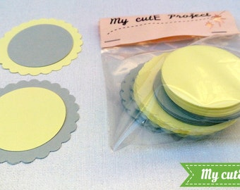 Cupcake toppers - Gift tags- DIY - Grey cupcake toppers, Yellow cupcake toppers - Wedding tags - Baby Shower tags