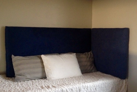 Items similar to queen size navy suede corner headboard on for Corner headboard queen