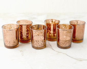 SET OF 36 Copper Rose Gold Mercury Glass Candle Votive Mercury Glass Tea Light Votive Holder Copper Mercury Glass Rose Gold Spotted Candle