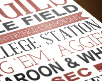 Texas A&M Aggies Typography | 8x10 Printable TAMU Aggies Art | INSTANT DOWNLOAD