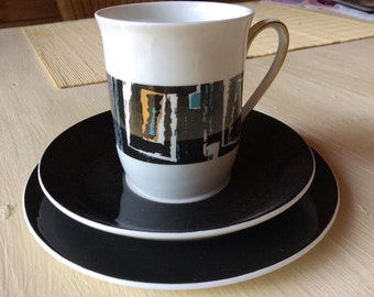 Retro 1970s Windsor Bone China Coffee Cup Saucer and Plate - Troy pattern - Kitsch Minimalist