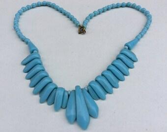 1950s Graduated Dropper Pale Blue Glass Retro Choker Necklace