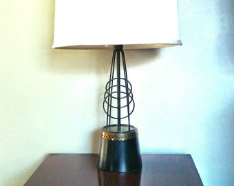 Wire lamp etsy vintage mid century modern lamp atomic black wire light table lamp free shipping keyboard keysfo Choice Image