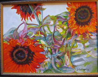 Original Acrylic Red Sunflower Painting 20 x 16