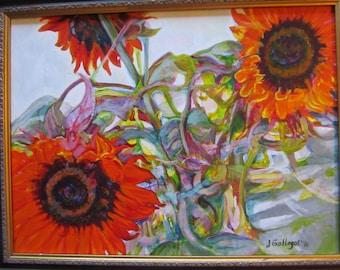 Original Acrylic Red Sunflower Painting 20 x 16