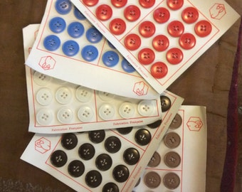 Vintage 50's dead stock 5 various colours buttons sheets made in France
