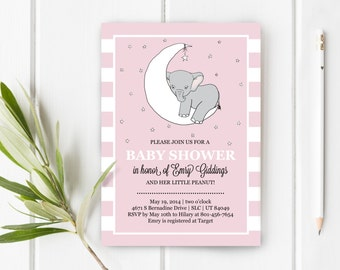Little Peanut Elephant Baby Shower Invitation, Stripes & Elephants, 5x7, Item 251