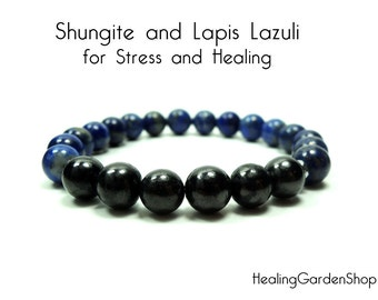 Shungite and Lapis Lazuli // Stress Relief // Negative Energy Protection // Miracle Crystal // Healing Garden Shop