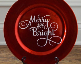 Merry and Bright Red Decorative Charger Plate holiday gift Christmas gift kitchen decor & holiday decorative plates | My Web Value