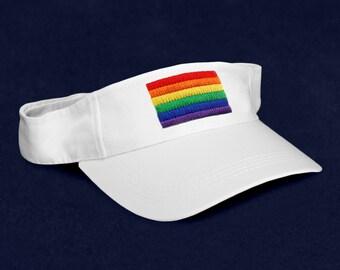 12 Rectangle Rainbow Visors In White in a Bag (12 Visors) (VI-RB2)