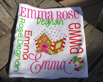 Personalized Christmas Baby Blanket - Gingerbread House Receiving Blanket - Xmas Baby Name Blanket - First Christmas Swaddling Blanket