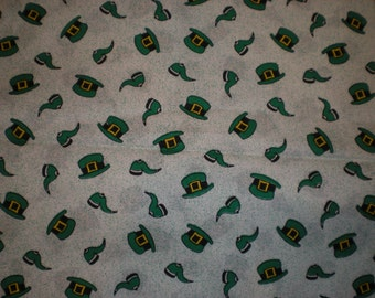 Irish St. Patrick's Day Cotton Fabric One Piece 1 yard and 32 inch Hats Pipe Green Black White Quilt or Craft