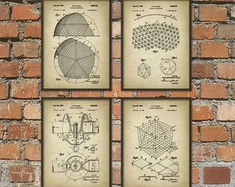 Buckminster Fuller Patent Print Set of 4 - Buckminster Fuller Building Design - Architecture Geodesic Dome Patent - Architectural Biosphere