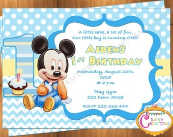 Baby Mickey Mouse First Birthday Invitation - Mickey Mouse 1st Birthday Party Invite - Printable - Digital File - CraftyCreationsUAE