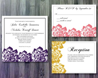 Three Flowers Wedding Invitation | RSVP | Information Suite - Digital | WD15