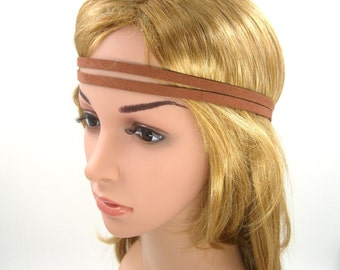 Brown Suede Leather Headband,Brown Boho Bohemian Tribal Hippie Yoga Headband,Brown Double Stranded Halo Headband,Women Men Adult Hairband