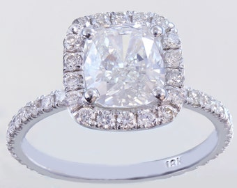 18k white gold cushion cut diamond engagement ring halo 2.10ctw H-VS2 GIA