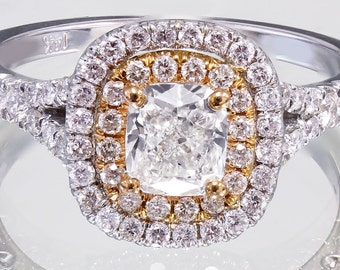 EGL USA G-VS2 18k White Rose Gold Cushion Cut Diamond Engagement Ring 1.65ctw