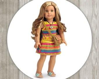 "American Girl Doll  1.5"" or 2.5"" Envelope Seal/Favor Sticker/Lollipop Sticker"