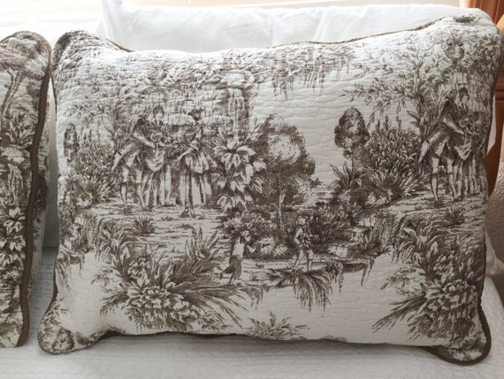 Brown Toile Bedroom Ideas: Vintage Toile Pillow Shams Toile Bedding Brown And White