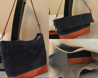 Custom Waxed Canvas and Leather Tote